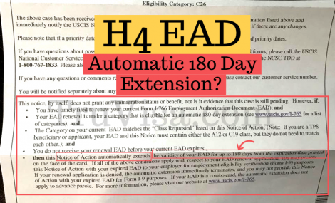H4 EAD notice says 180 day automatic extension is not valid for H4 EAD