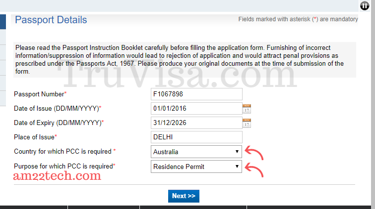 Indian pcc application form-passport details in India