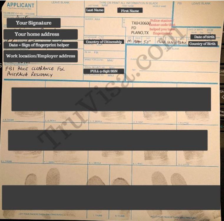 Sample FD 258 fingerprint form