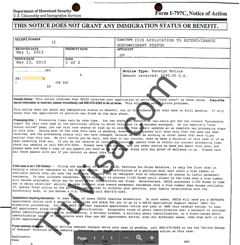 Sample USCIS i 797C - Notice of action - AM22 Tech