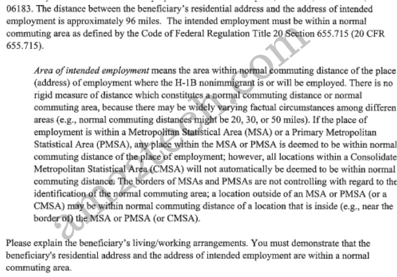 H1b RFE for home address too far from office