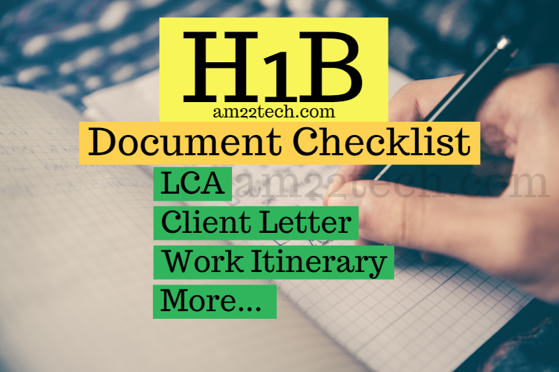 H1B Extension Documents Checklist - Sample Work Itinerary
