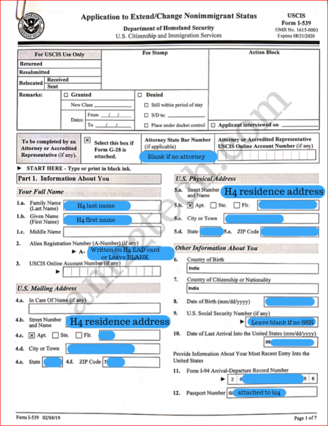 Sample i539 form for h4 extension - page 1