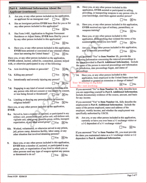 Sample i539 form for h4 extension - page 3