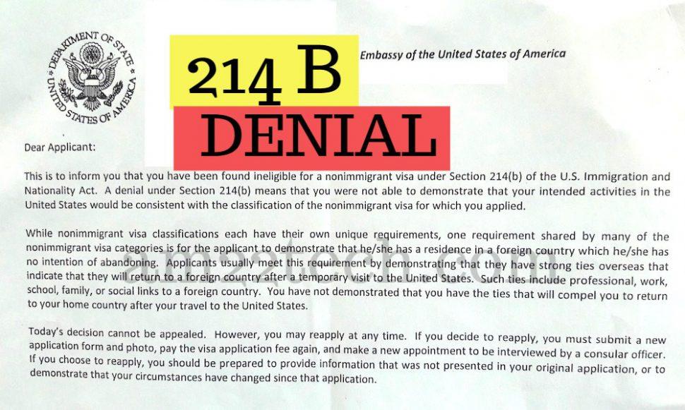 US Visa 214b denial sample