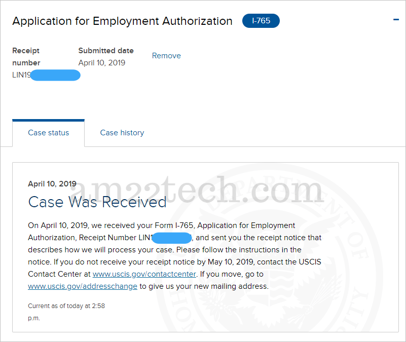Case status received on DHS website account