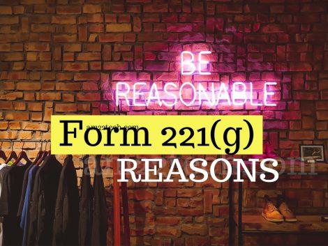 Form 221g reasons for US visa stamping
