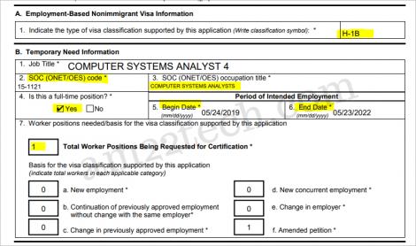 H1b SOC code on LCA form