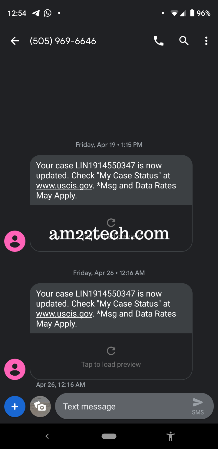 USCIS case status text message