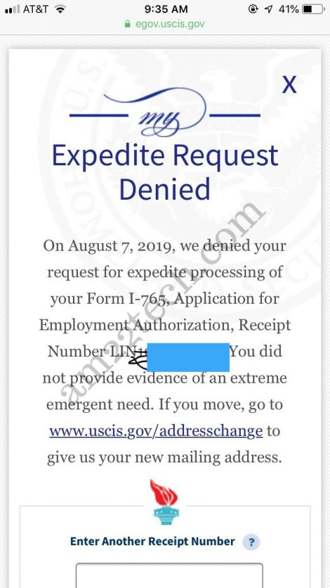 EAD Expedite Request Denied