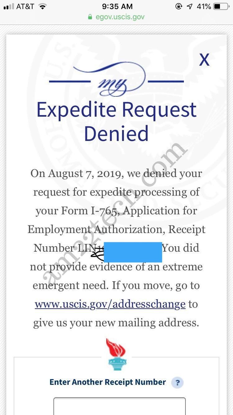 USCIS Denying EAD Expedite Request - Did Not Provide
