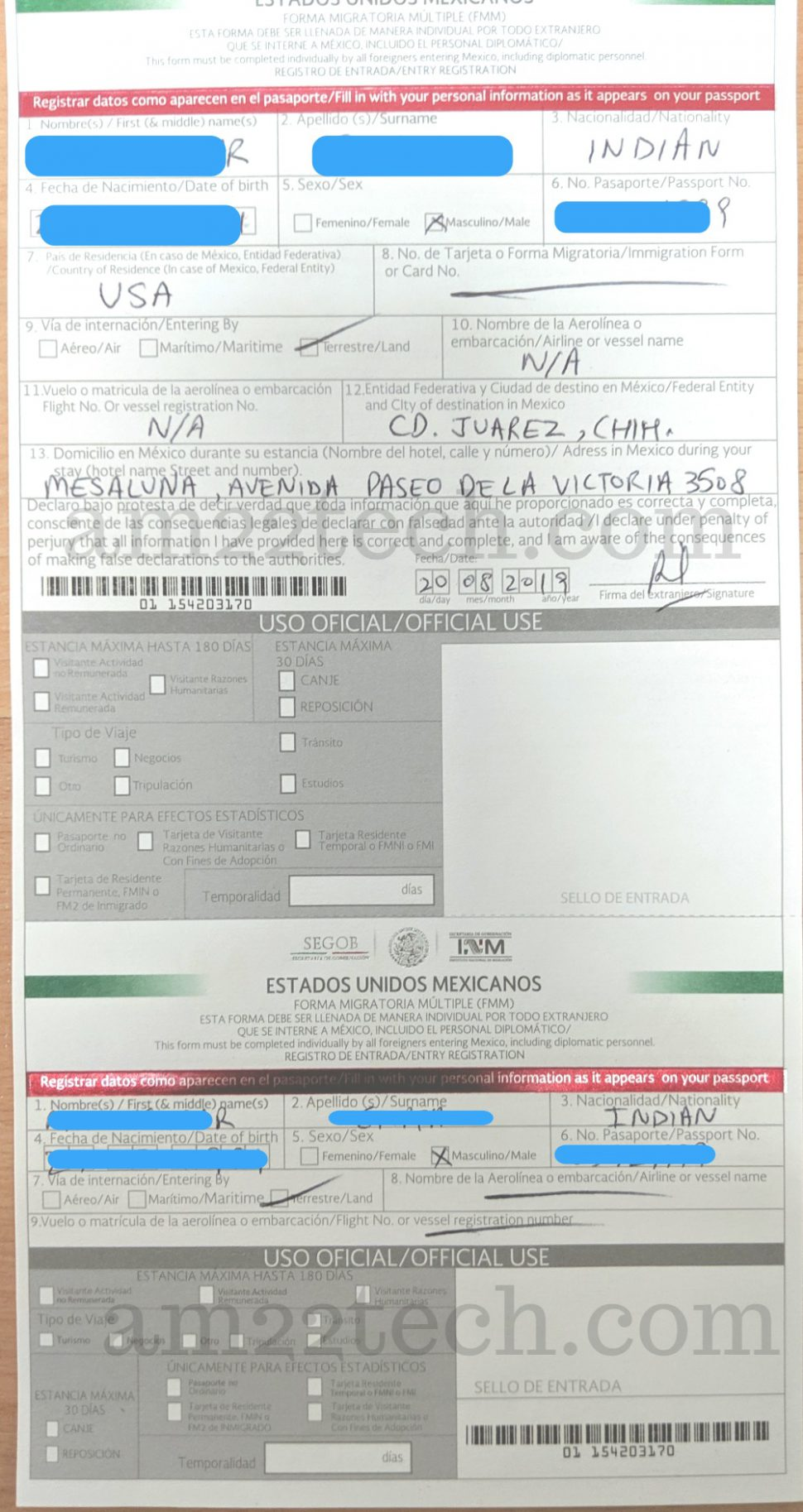 Mexico FMM tourist permit Sample