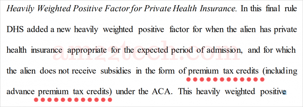 Obamacare subsidy or premium-tax-credits count as public charge