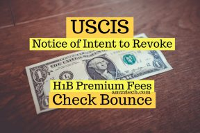 USCIS fees check dishonor triggers Notice of intent to revoke