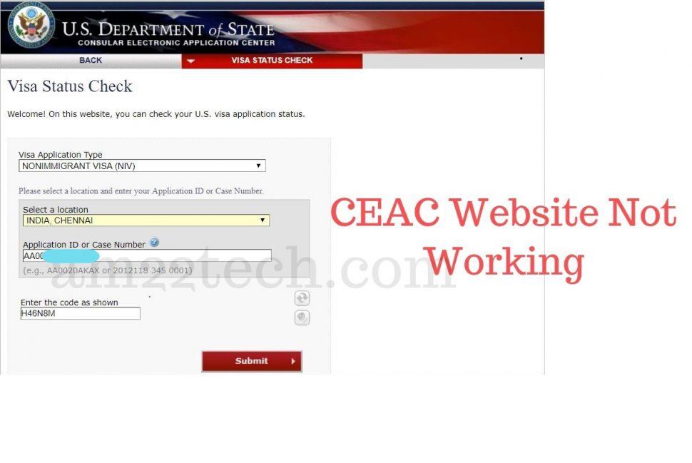 CEAC visa status check website down - not showing status