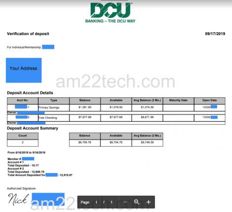 DCU bank verification letter for visa