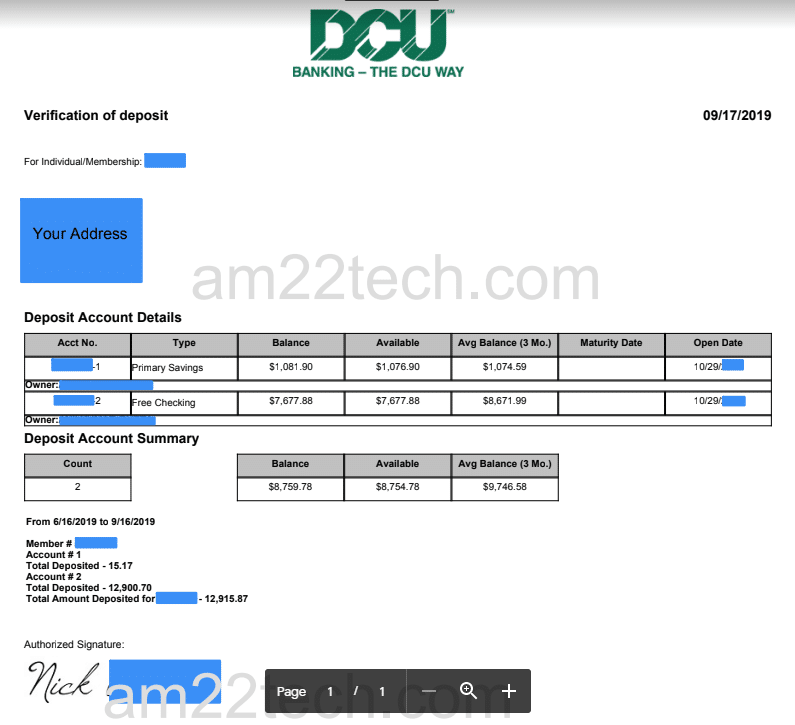 DCU bank verification letter for visa