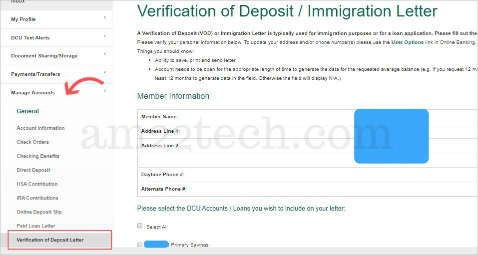 Generate DCU bank verification letter - online