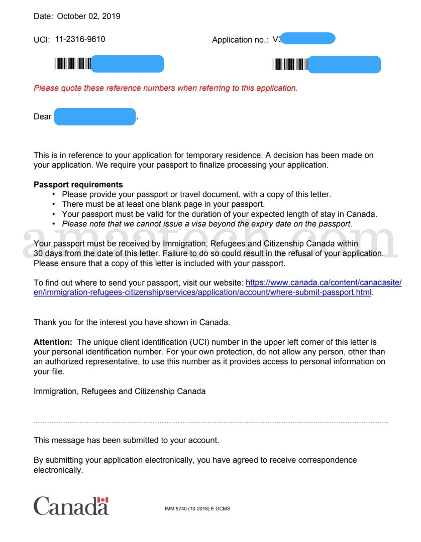 Canada visa passport request letter