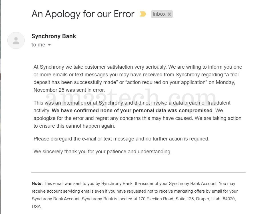 Synchrony bank issues apology