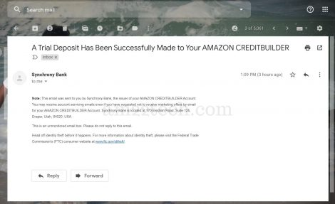 Trial deposit has been made to Amazon credit builder