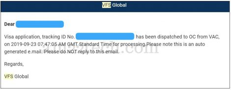VFS Canada application dispatched to OC from VAC
