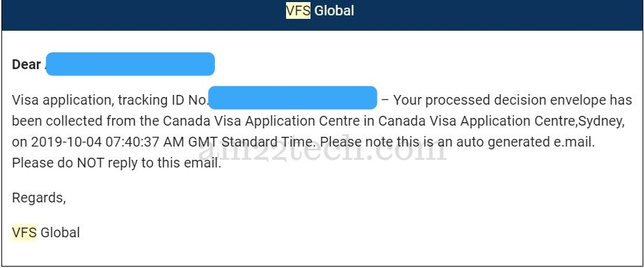Application envelope received from application center