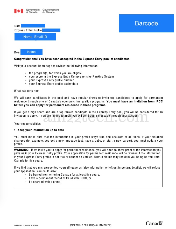 Canada express entry profile confirmation email