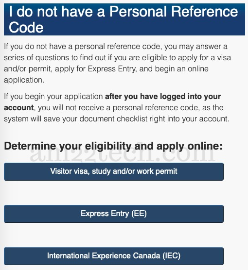 Canada PR - personal reference code not available