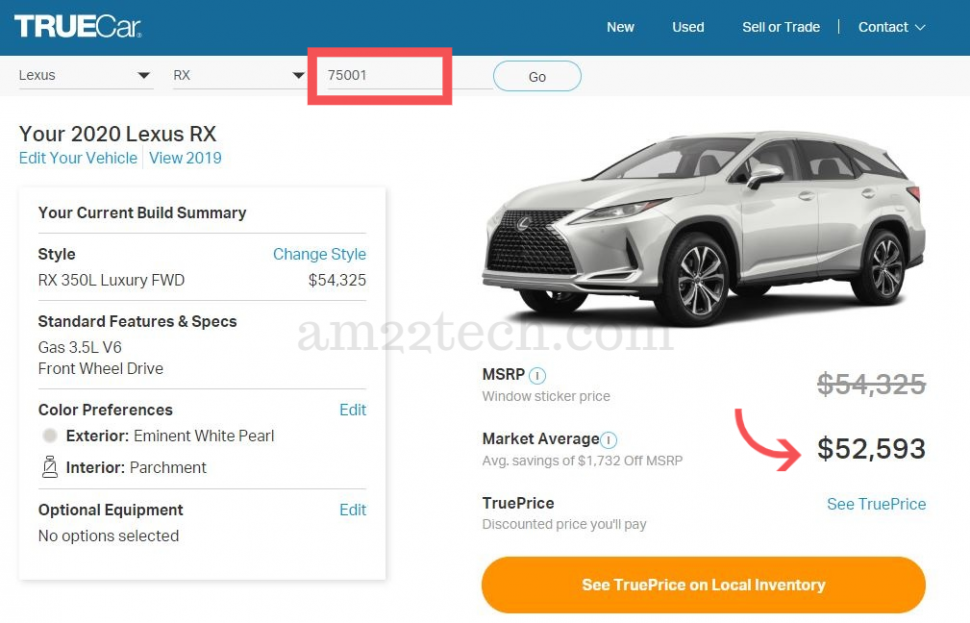 Check car price in your own zip code