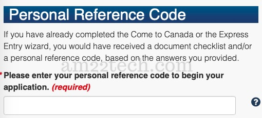 Enter Come to Canada personal reference code