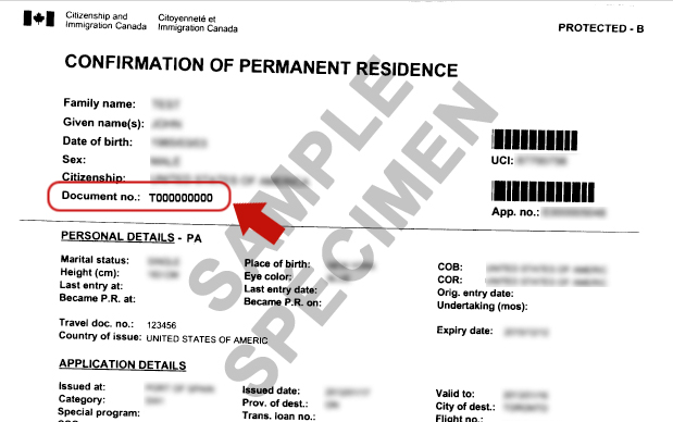 Confirmation of permanent residence Canada