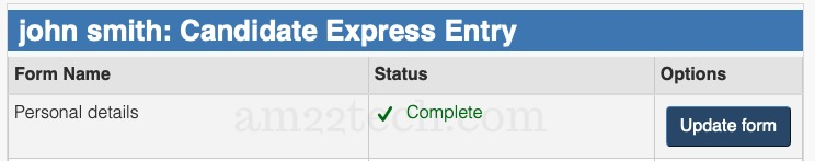 Document marked complete in Canada express entry