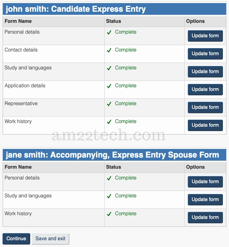 Express entry profile after completing all forms