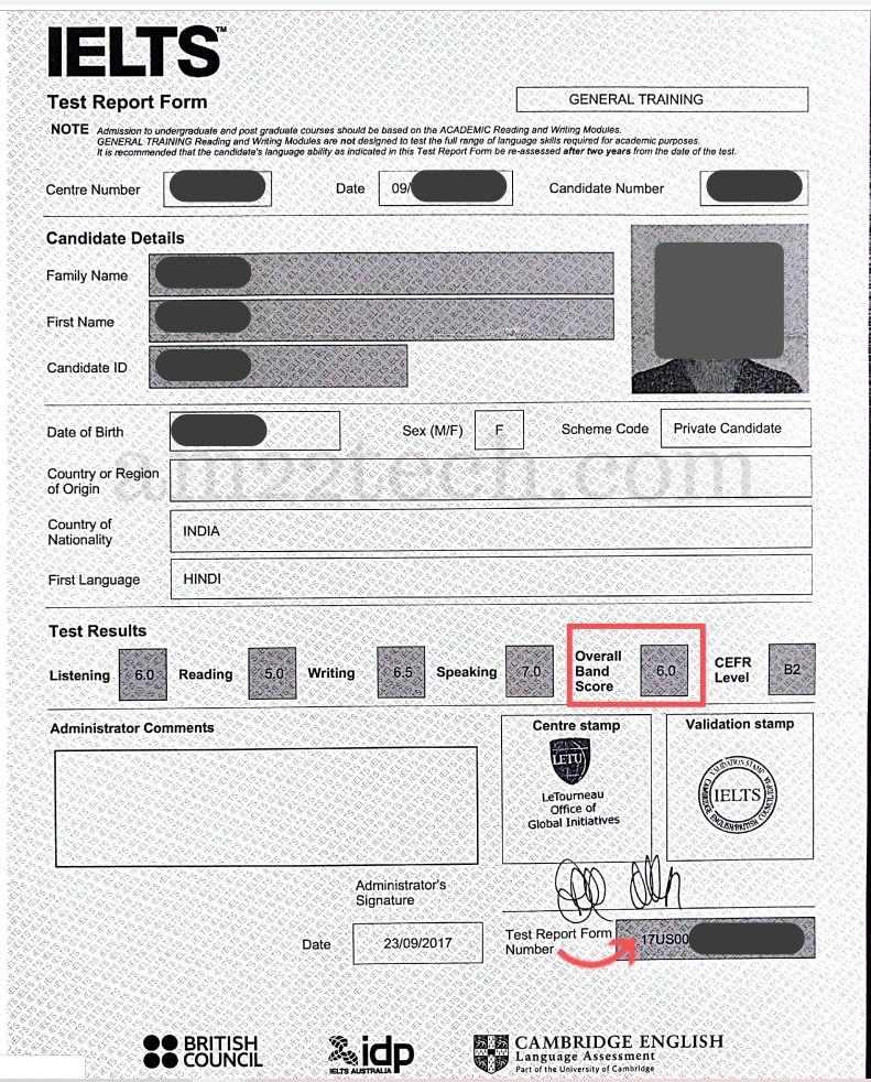 IELTS test report form
