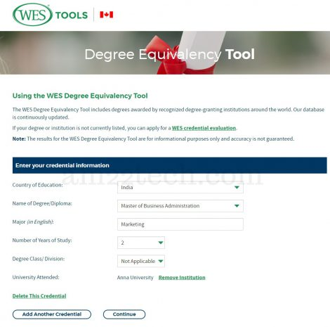 WES Degree Equivalency Tool