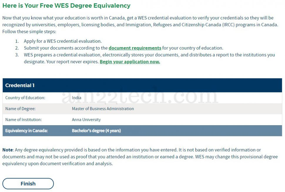 WES Indian MBA degree equal to 4 year Canada bachelor program