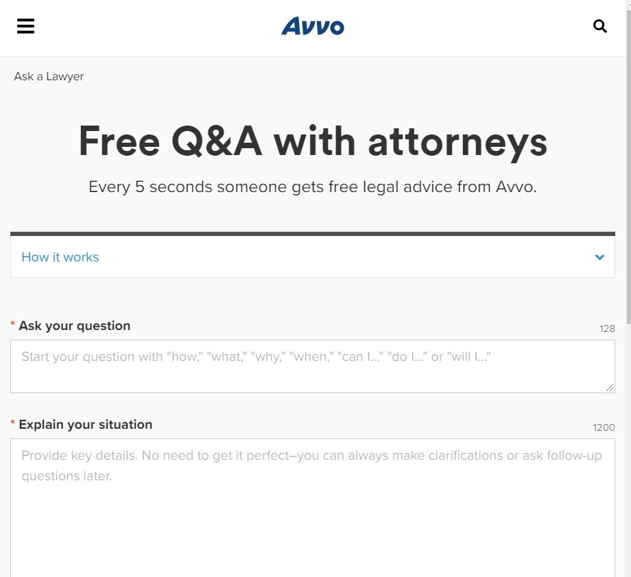 AVVO free advice from attorney