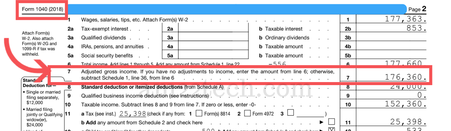Adjusted Gross Income is on Line 7 - IRS form 1040