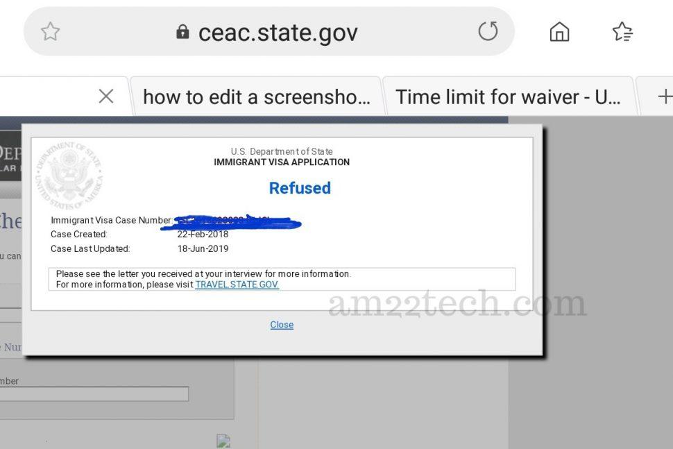 CEAC case status - Refused