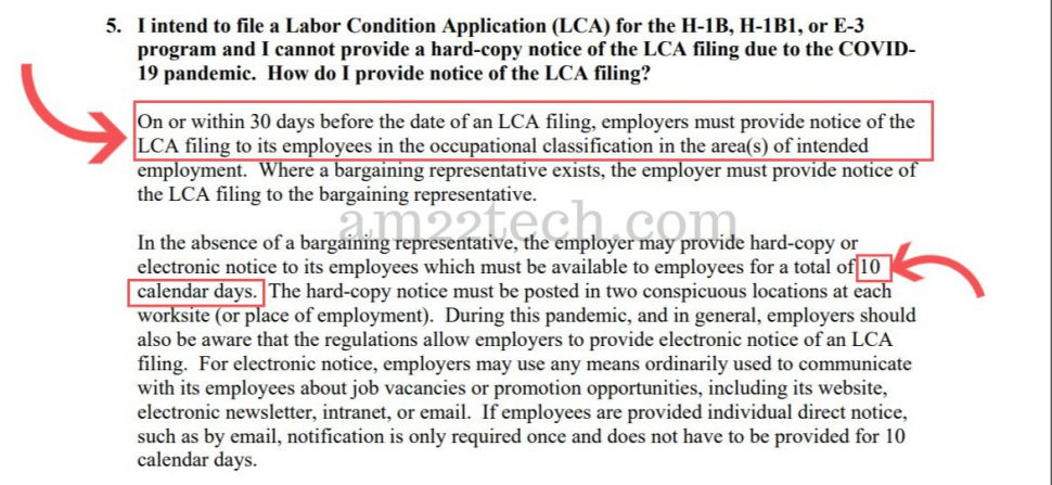 DOL Cornavirus announcement for H1B work from home LCA