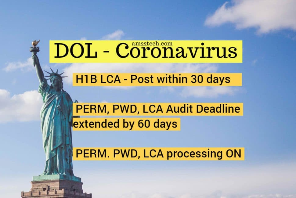 H1B LCA for work from home relaxed. PERM, PWD, LCA processing open and working