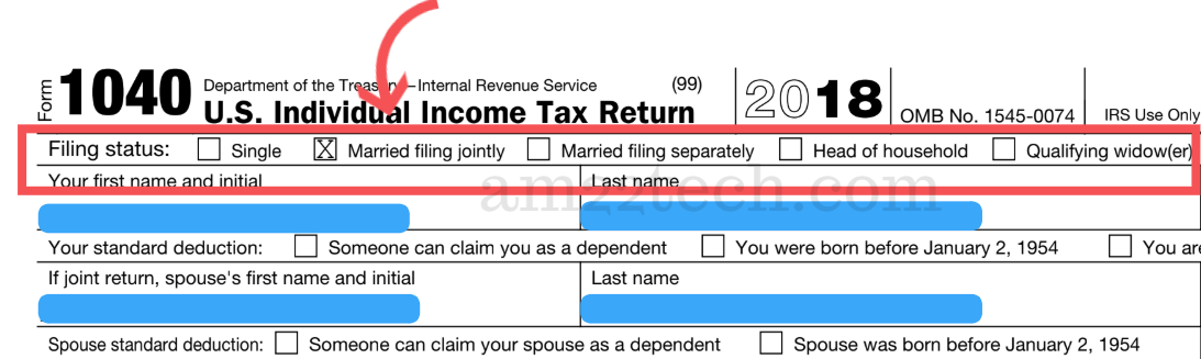 Filing status on IRS tax return 1040 form for 2018 and 2019