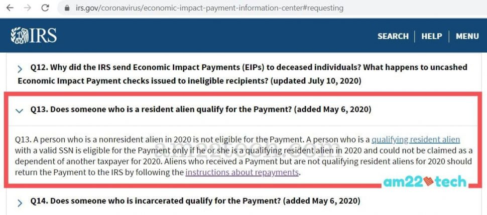 Non resident alien h1b, l1 are not eligible for stimulus payment