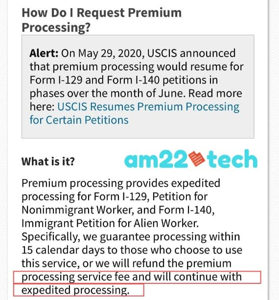Premium processing time after USCIS refunds fee