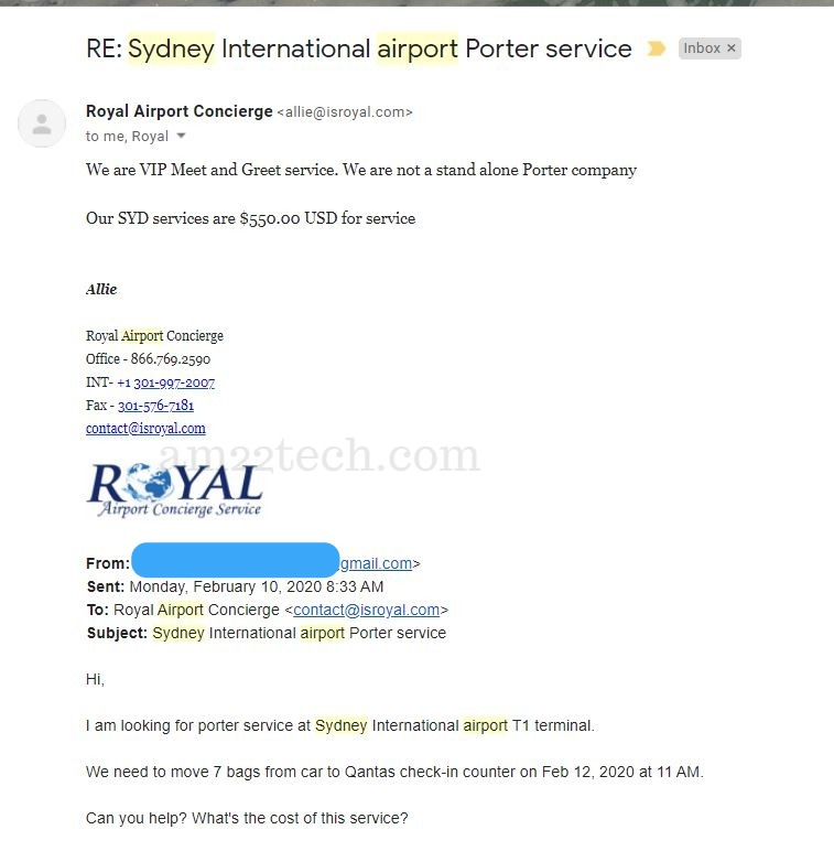 Royal airport concierge service