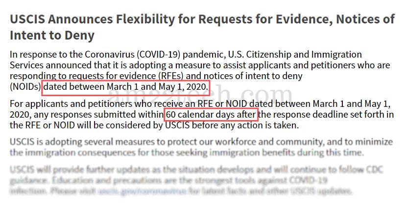 USCIS allows extra 60 days for RFE & NOID responses