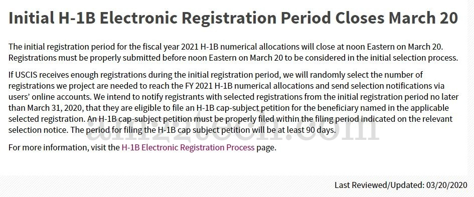 USCIS h1b lottery registration period ends
