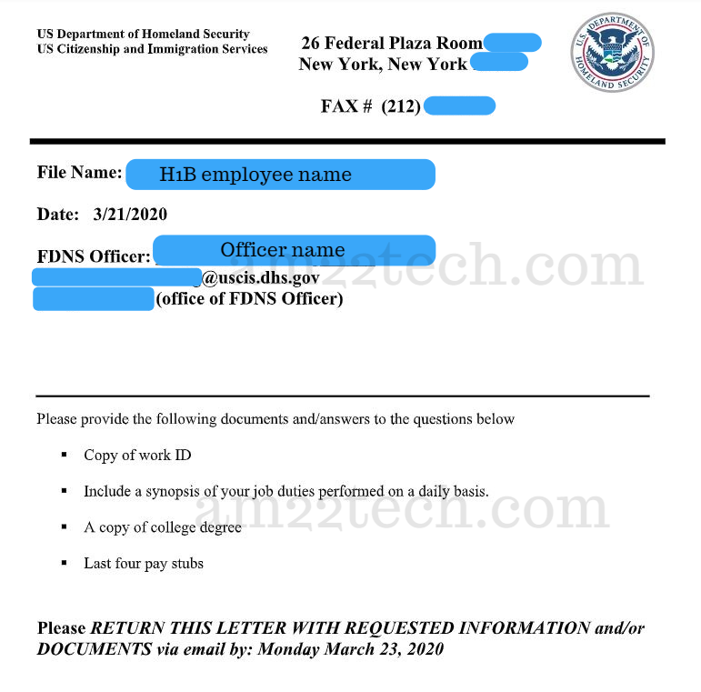 USCIS h1b site visit documents requested
