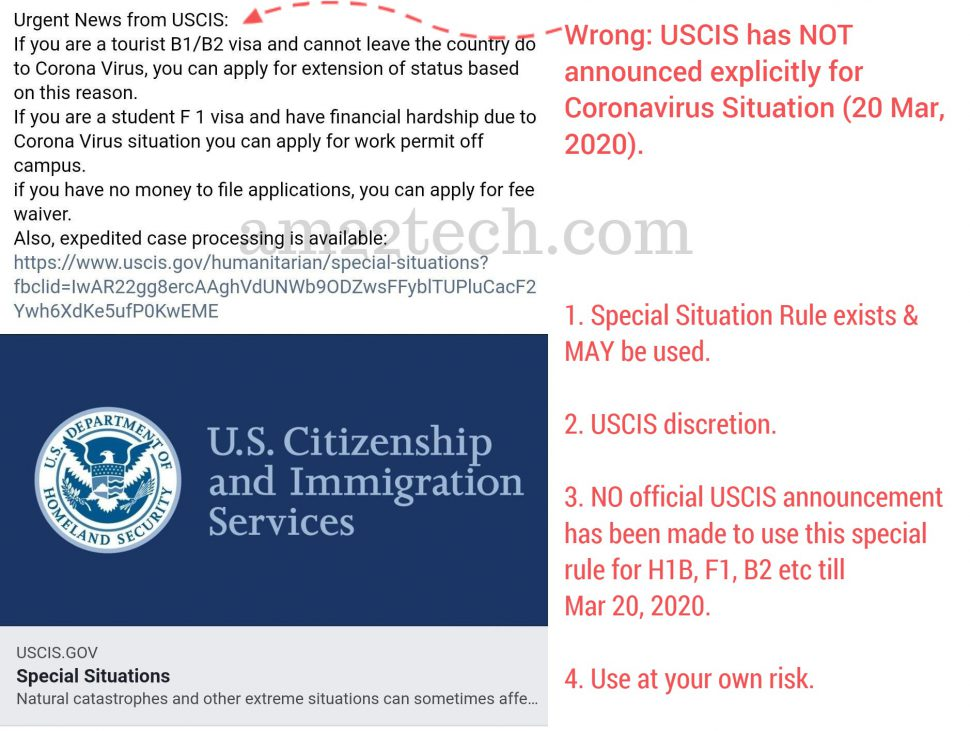 USCIS has not announced Coronavirus  F1, B2 or H1b extensions explicitly